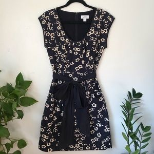 LOFT navy blue floral dress with bow